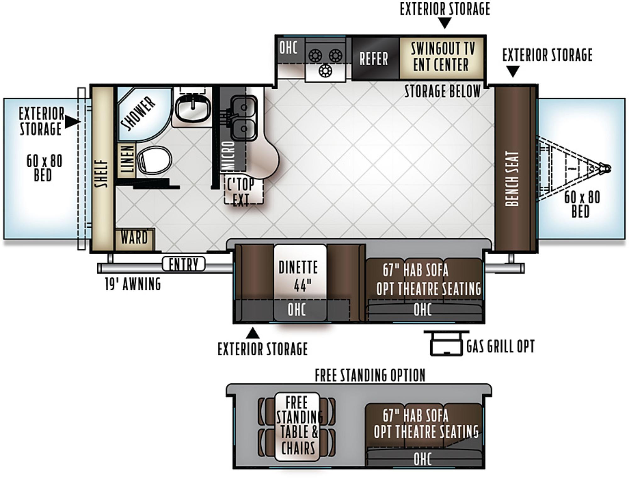 Floor Plan : 2018-FOREST RIVER-23FL