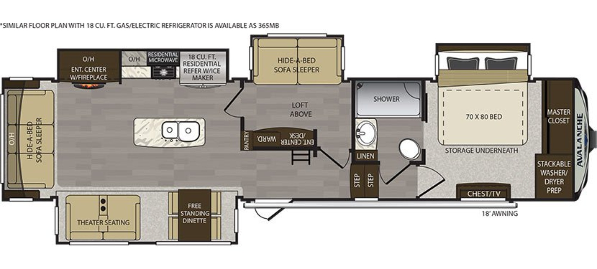 View Floor Plan for 2018 KEYSTONE AVALANCHE 366MB