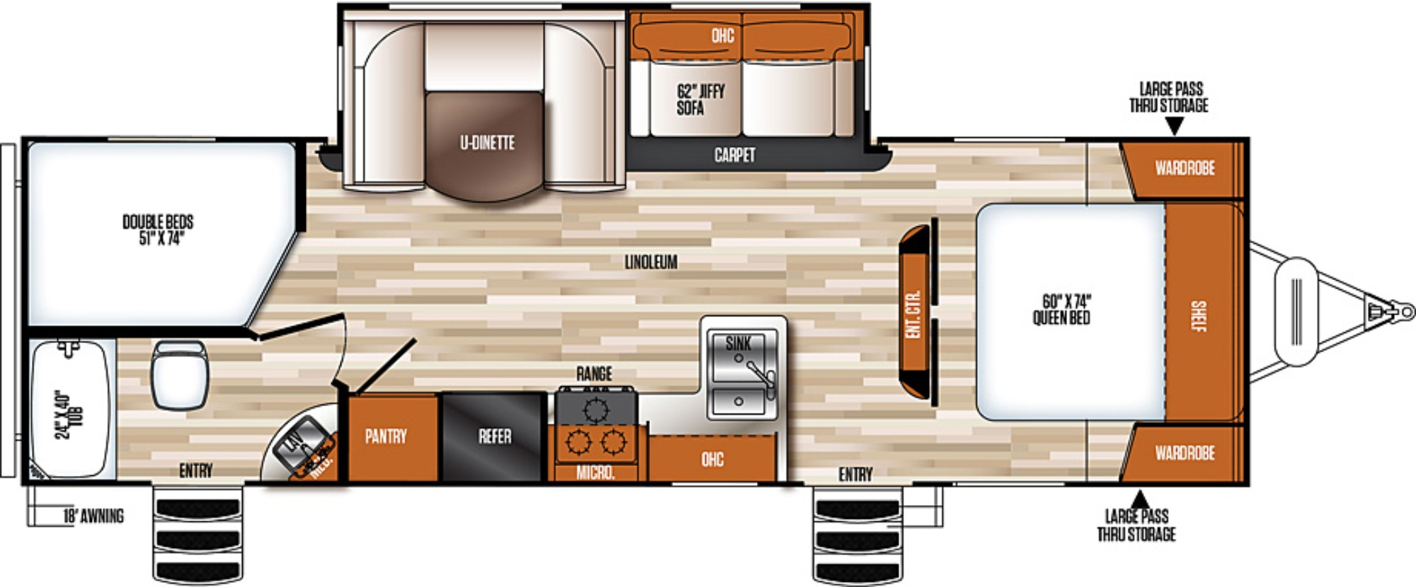 View Floor Plan for 2018 FOREST RIVER VIBE EXTREME LITE 261BHS