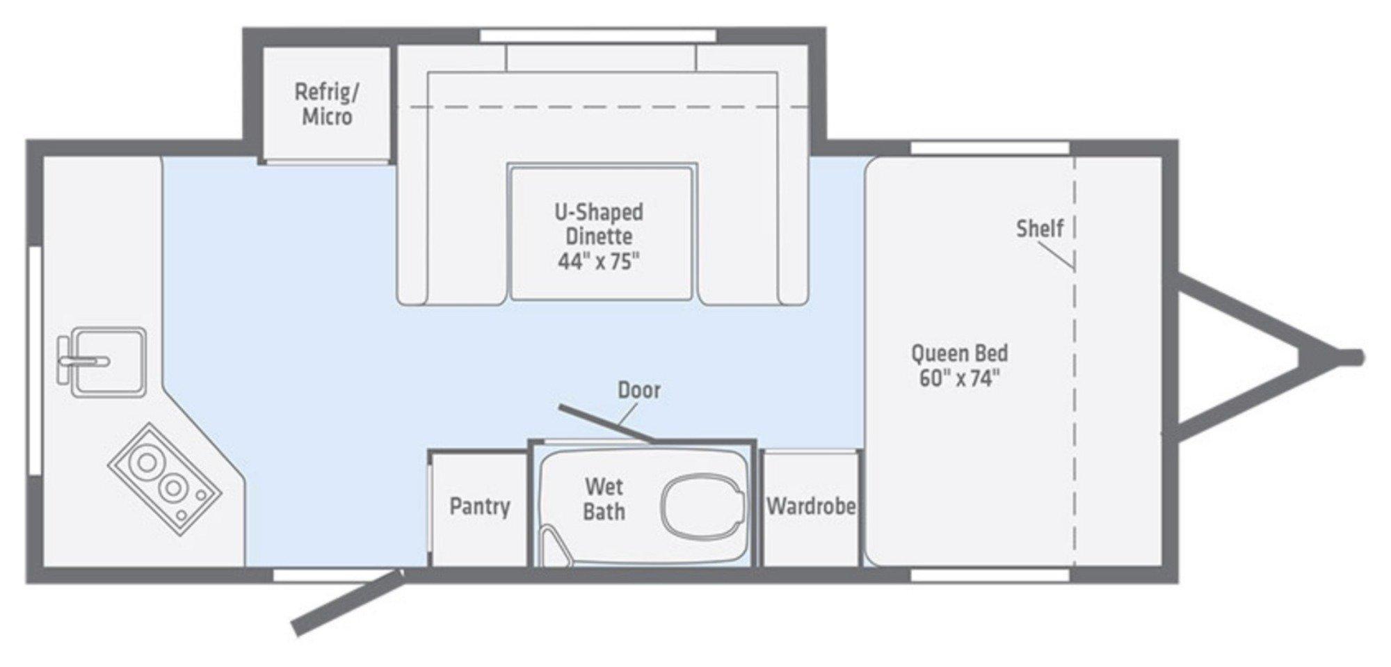 View Floor Plan for 2018 WINNEBAGO MINNIE DROP 1790
