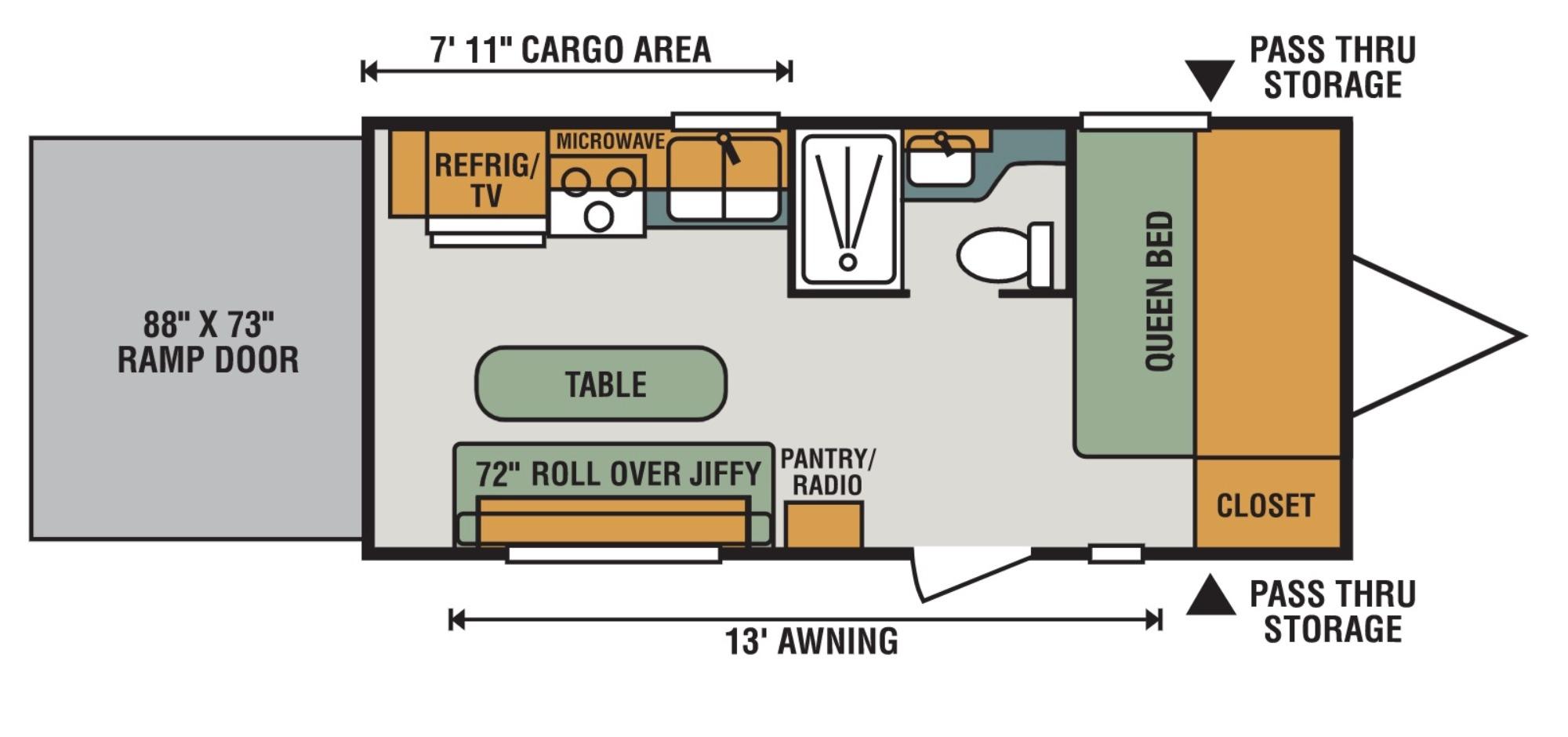 View Floor Plan for 2018 K-Z RV SPORTSMEN LE 190THLE