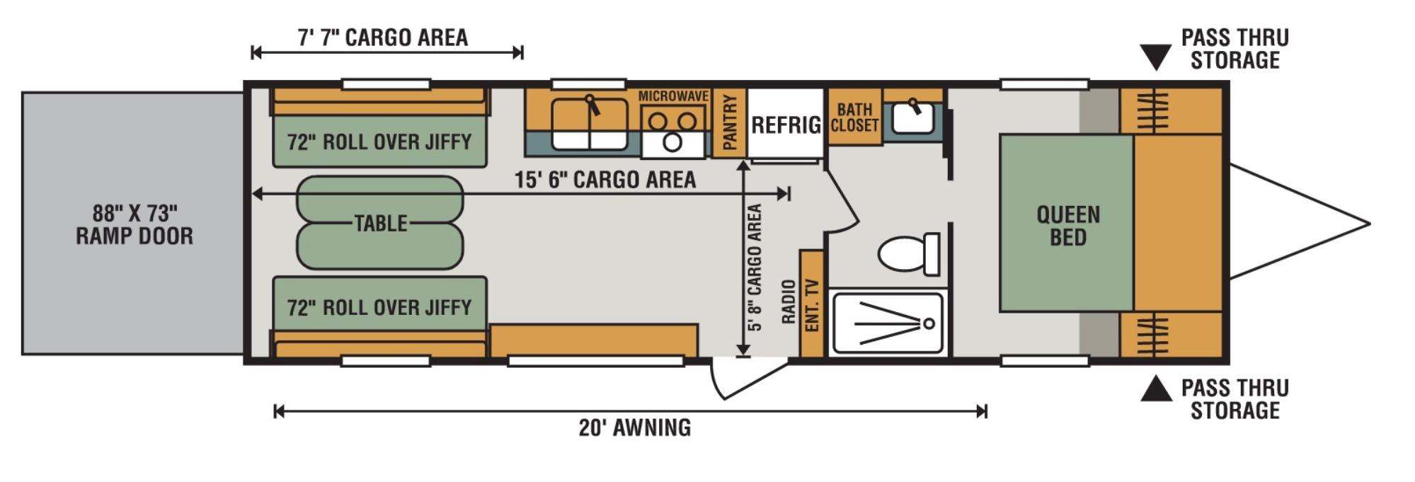 View Floor Plan for 2018 K-Z RV SPORTSMEN LE 270THLE