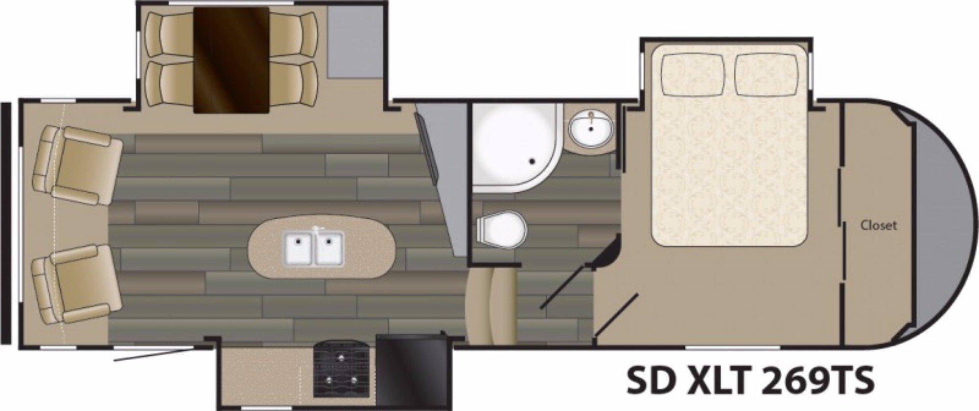 View Floor Plan for 2018 HEARTLAND SUNDANCE S5 269TS