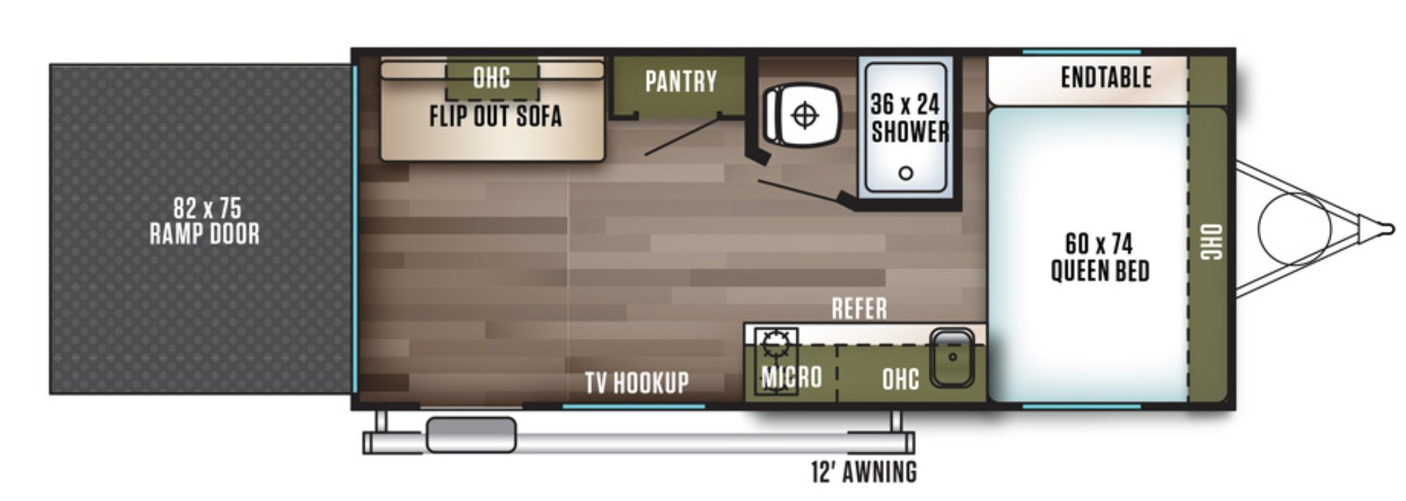 View Floor Plan for 2018 FOREST RIVER WILDWOOD FSX 180RT