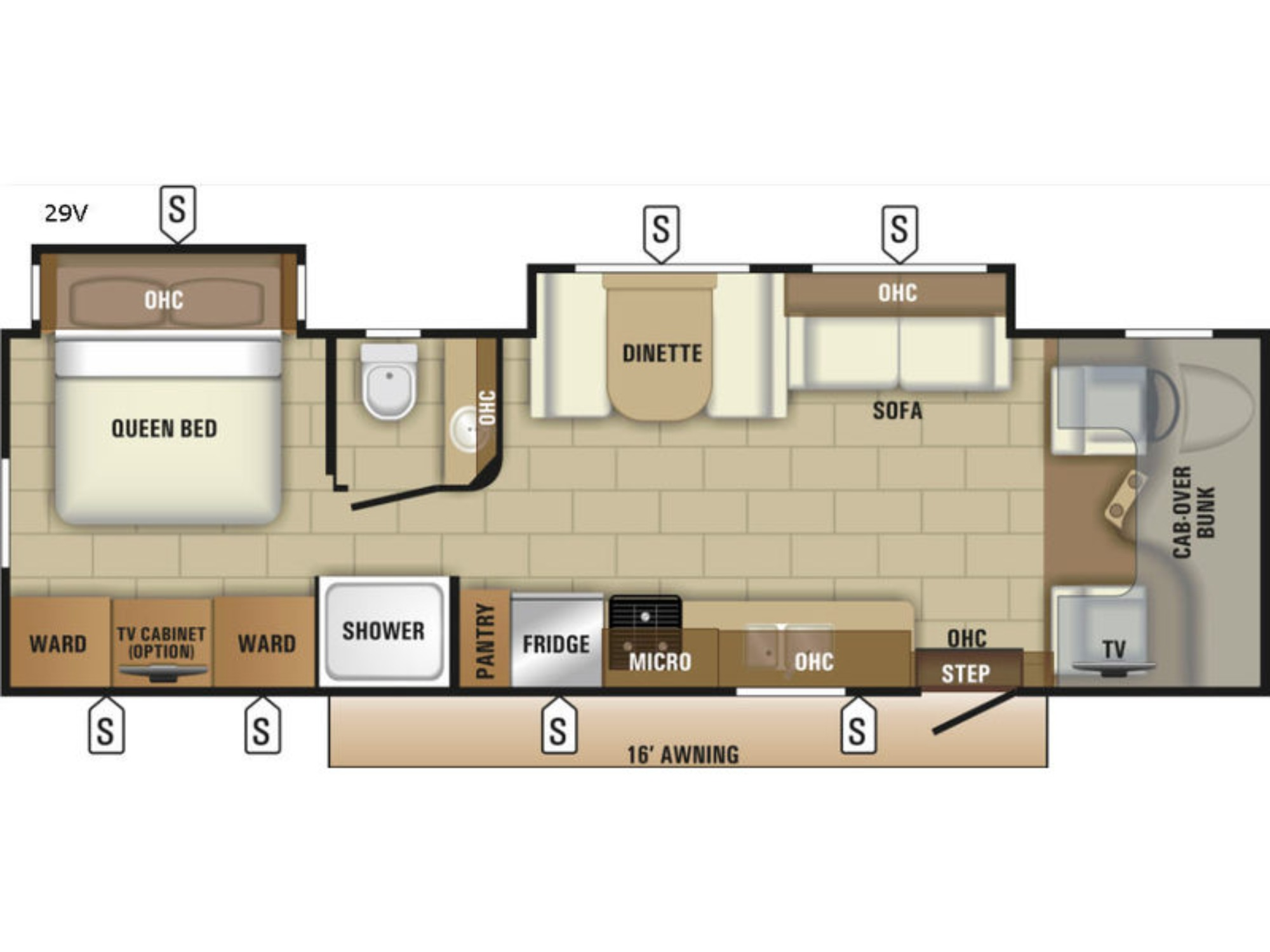 View Floor Plan for 2018 ENTEGRA COACH ODYSSEY 29V