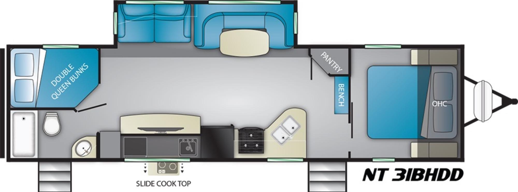 View Floor Plan for 2019 HEARTLAND NORTH TRAIL 31BHDD