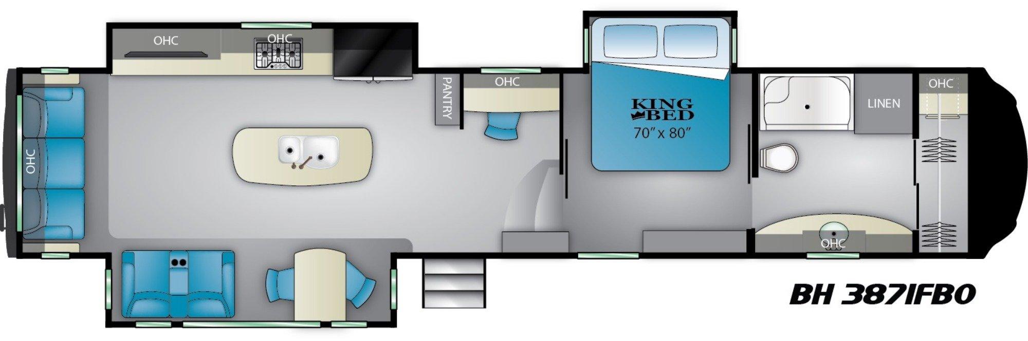 View Floor Plan for 2019 HEARTLAND BIGHORN 3871FBO