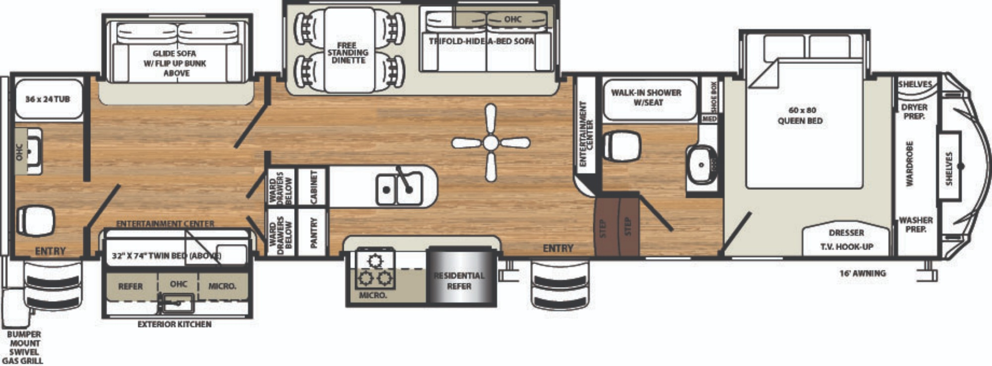 View Floor Plan for 2019 FOREST RIVER SIERRA 381RBOK