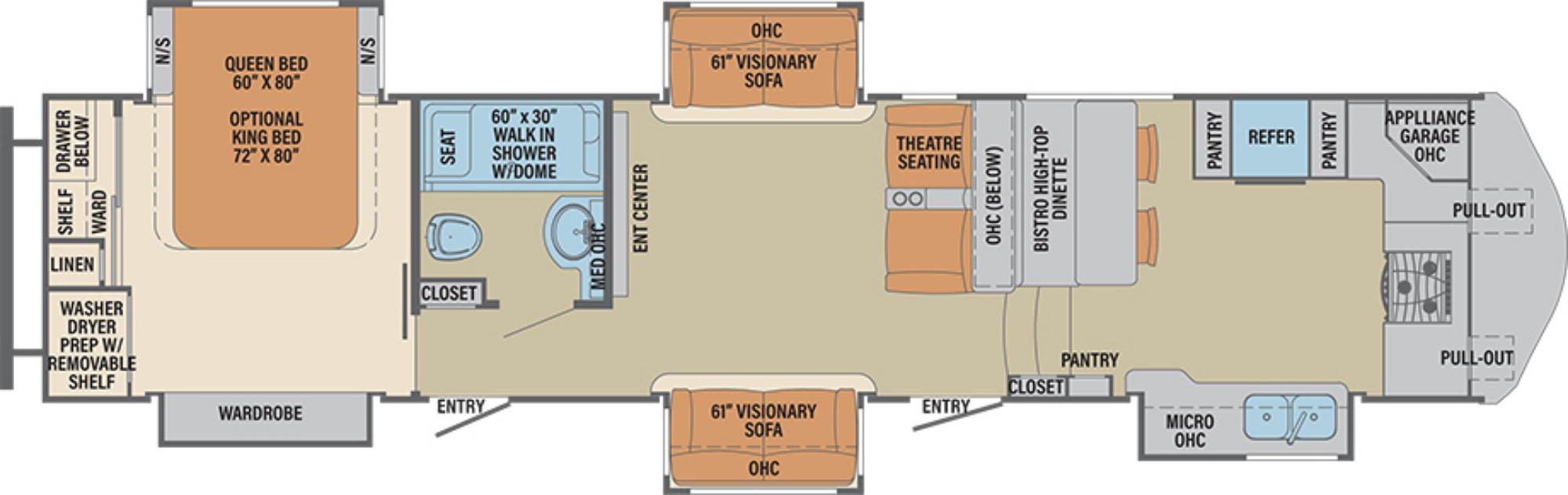 View Floor Plan for 2019 FOREST RIVER COLUMBUS 386FK