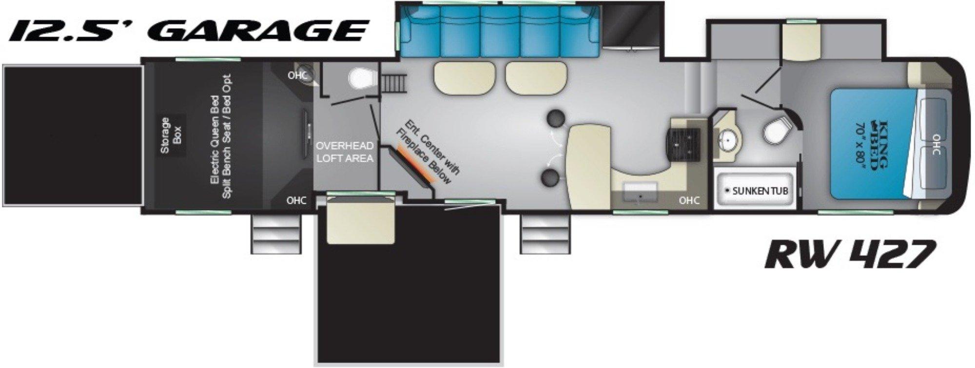 View Floor Plan for 2019 HEARTLAND ROAD WARRIOR 427