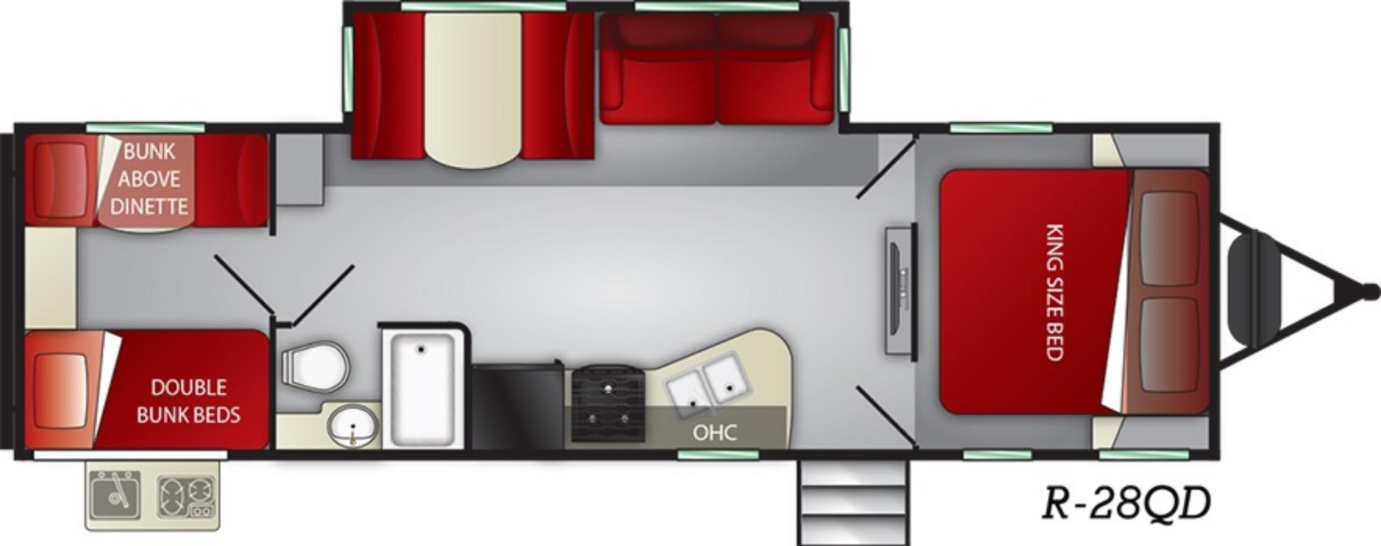 View Floor Plan for 2019 CRUISER RV RADIANCE 28QD
