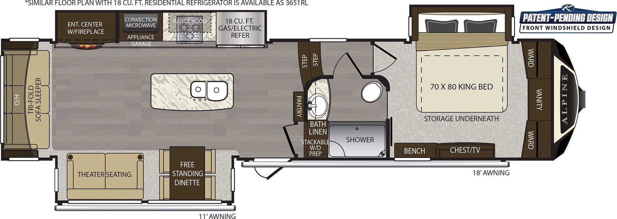 Bathroom : 2019-KEYSTONE-3650RL
