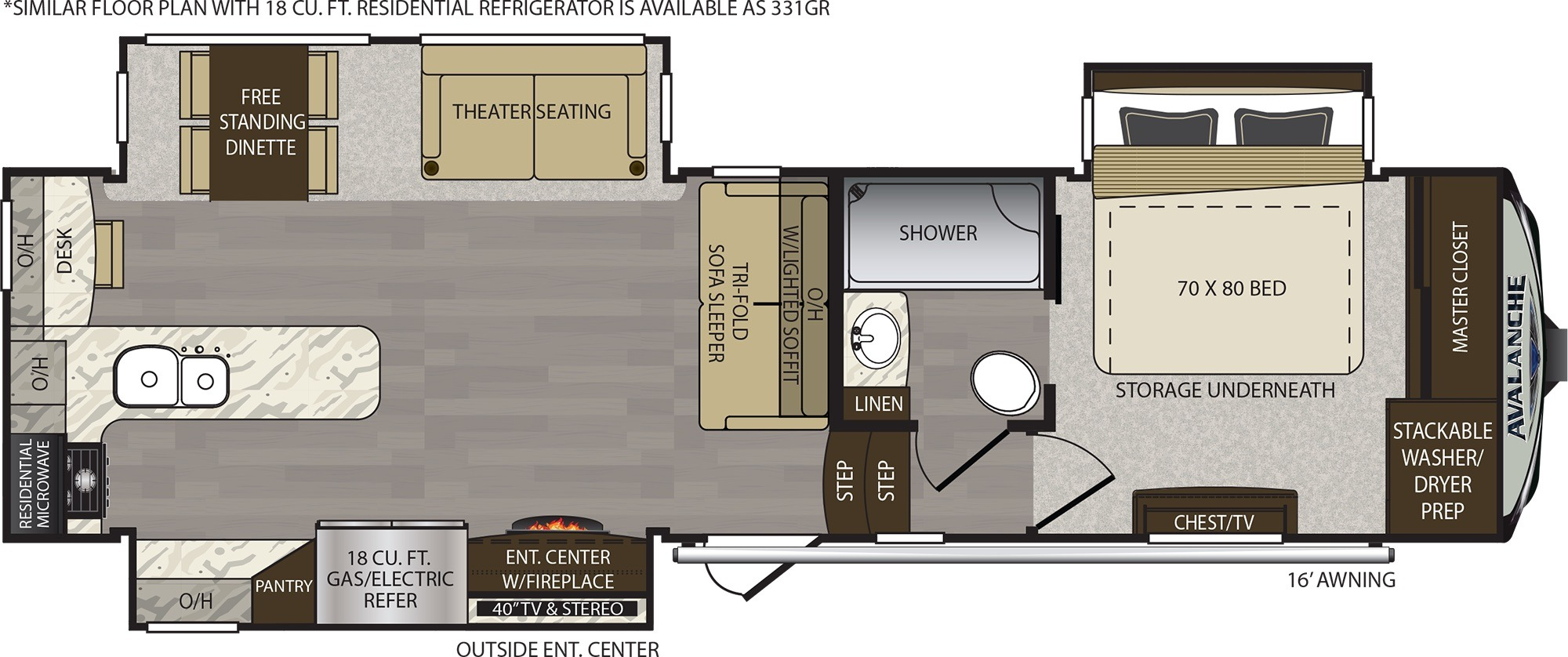 View Floor Plan for 2019 KEYSTONE AVALANCHE 330GR