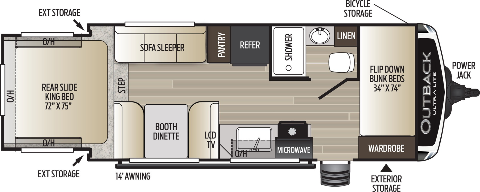 View Floor Plan for 2019 KEYSTONE OUTBACK ULTRA-LITE 210URS