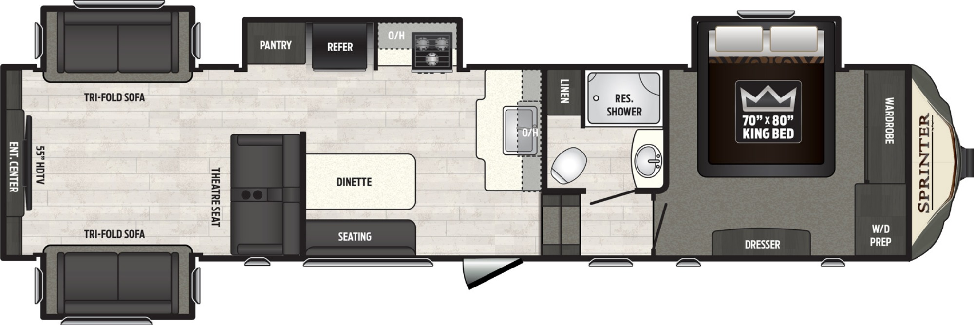 Bedroom : 2019-KEYSTONE-3530FWDEN