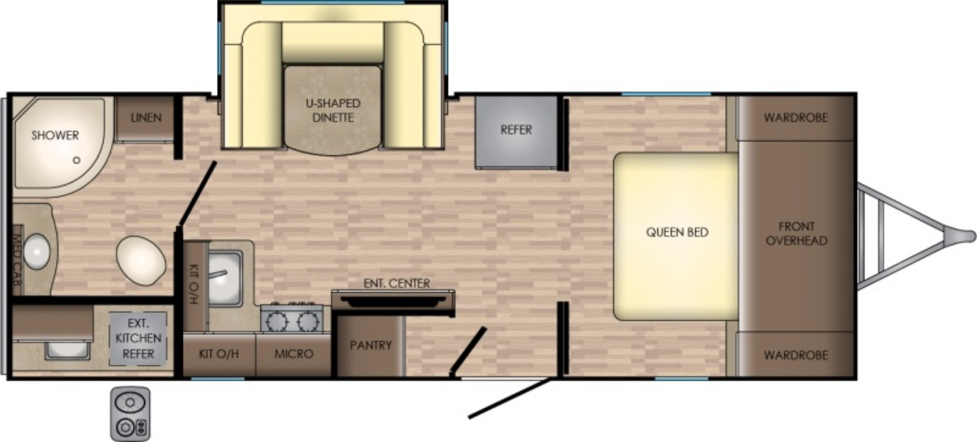 View Floor Plan for 2019 CROSSROADS SUNSET TRAIL 222RB