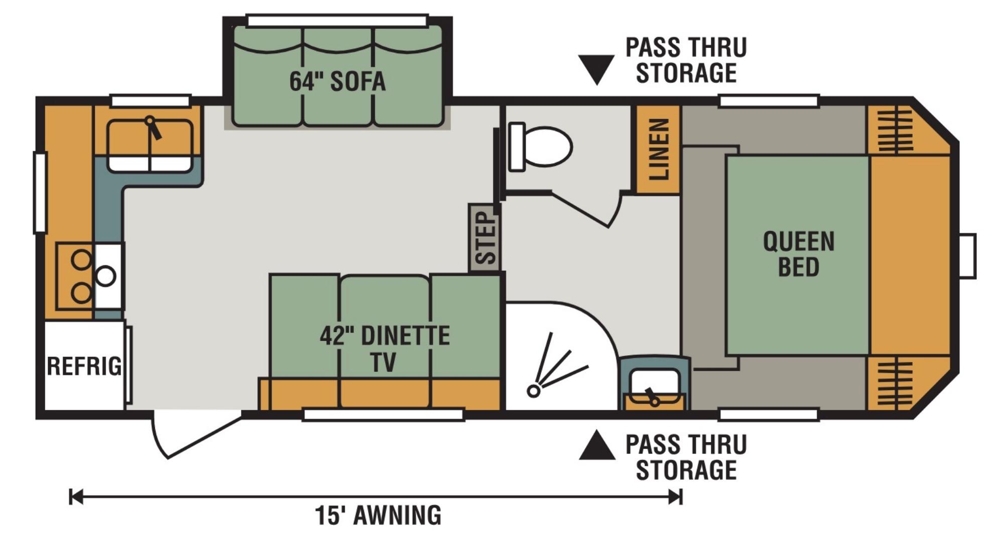 View Floor Plan for 2019 K-Z RV SPORTSMEN 231RK