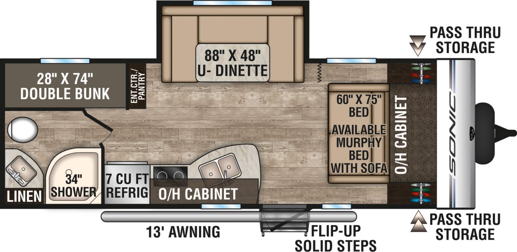 View Floor Plan for 2019 VENTURE RV SONIC 220VBH