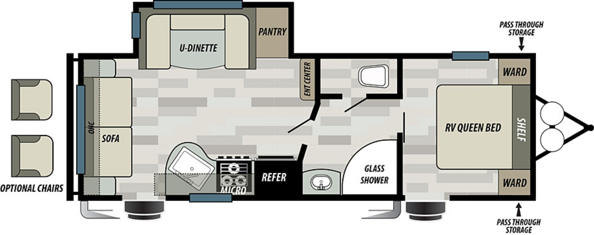 View Floor Plan for 2019 FOREST RIVER EVO T2460