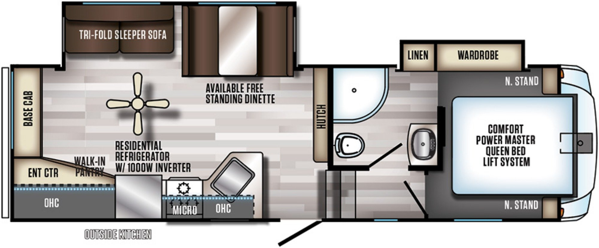View Floor Plan for 2019 FOREST RIVER ARCTIC WOLF 255DRL4