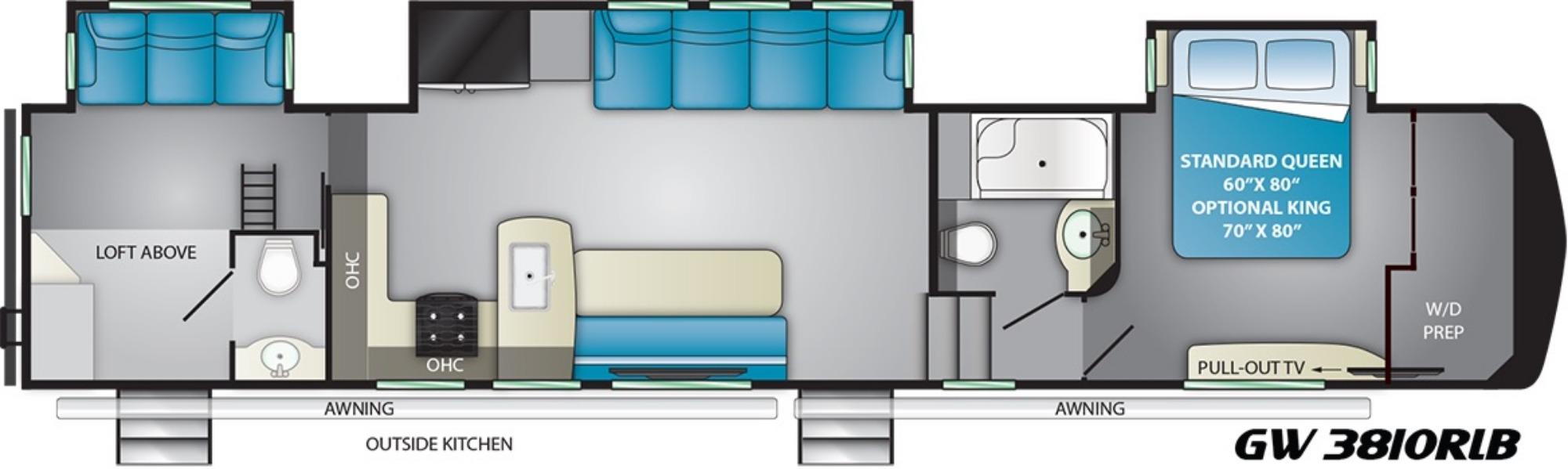 View Floor Plan for 2019 HEARTLAND GATEWAY 3810RLB