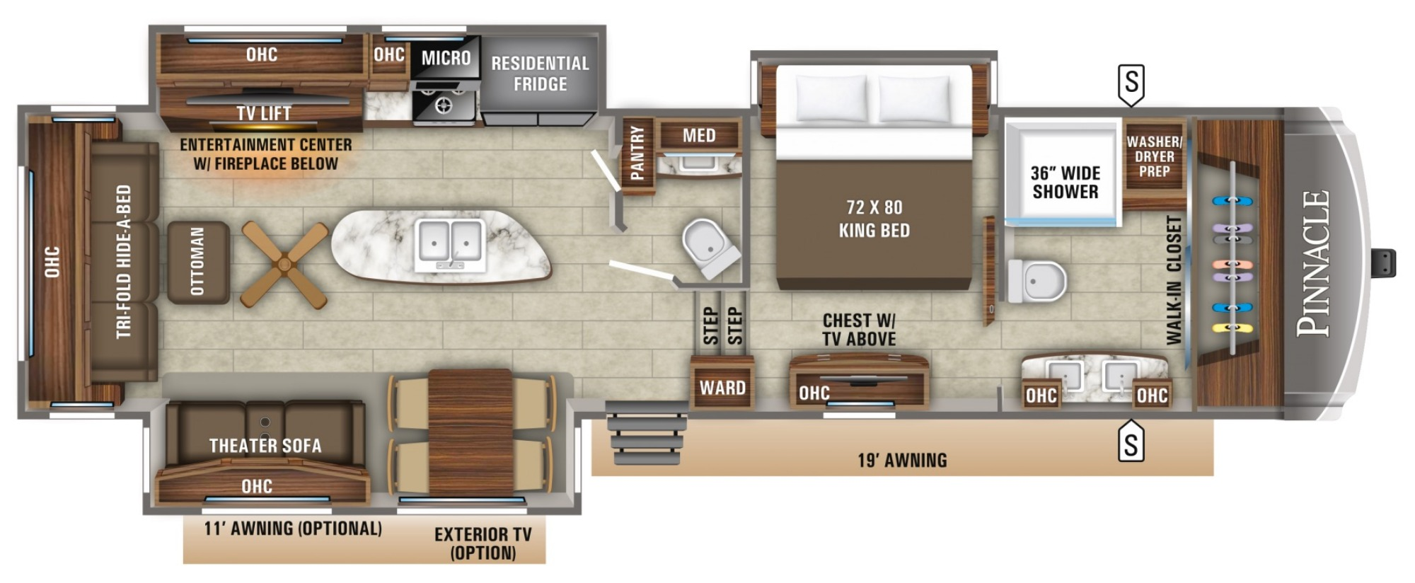 Floor Plan image for '2019 JAYCO PINNACLE 36FBTS'