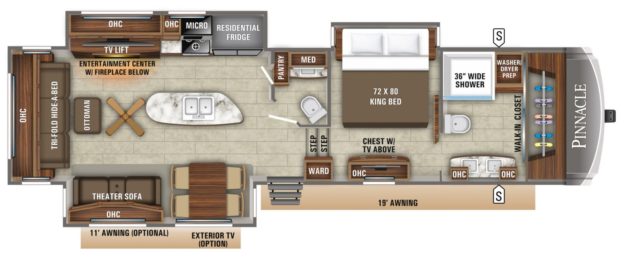 View Floor Plan for 2019 JAYCO PINNACLE 36FBTS