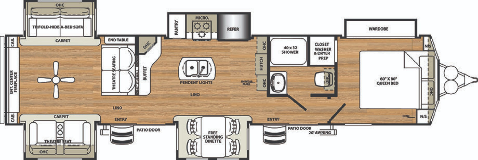 View Floor Plan for 2019 FOREST RIVER SIERRA 403RD