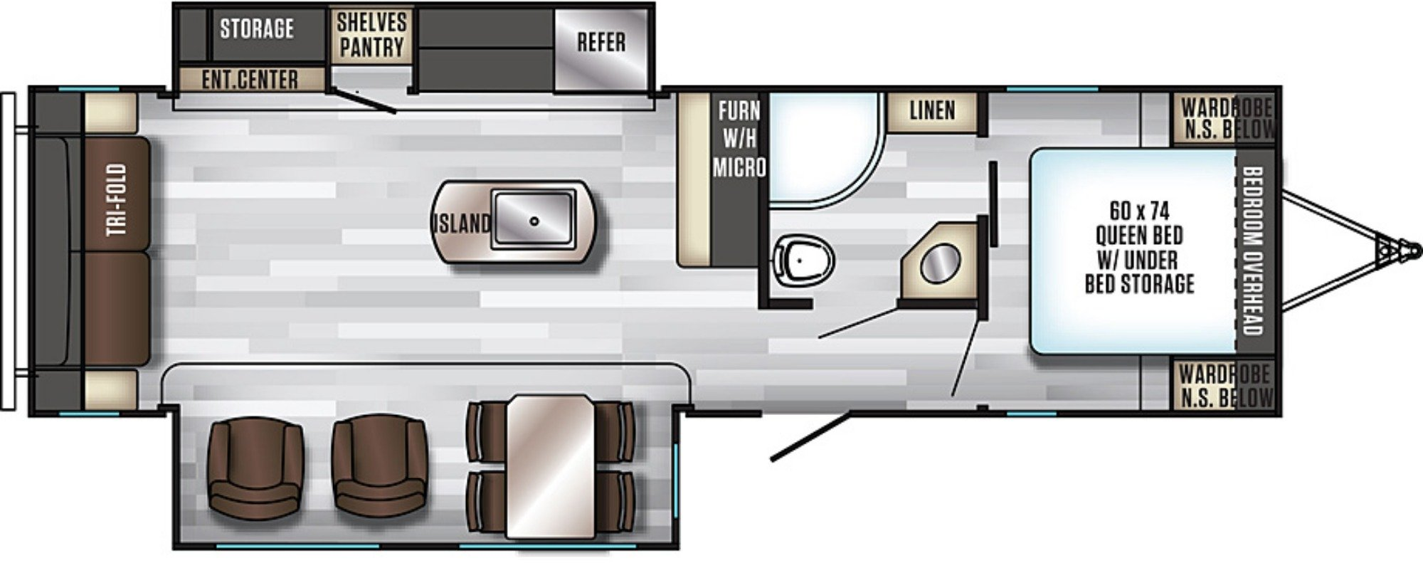 View Floor Plan for 2019 FOREST RIVER ALPHA WOLF 26RL-L