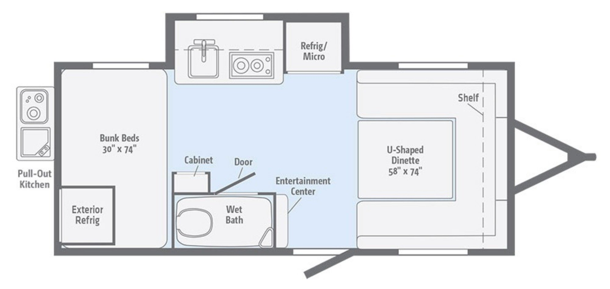 View Floor Plan for 2019 WINNEBAGO MINNIE DROP 170K