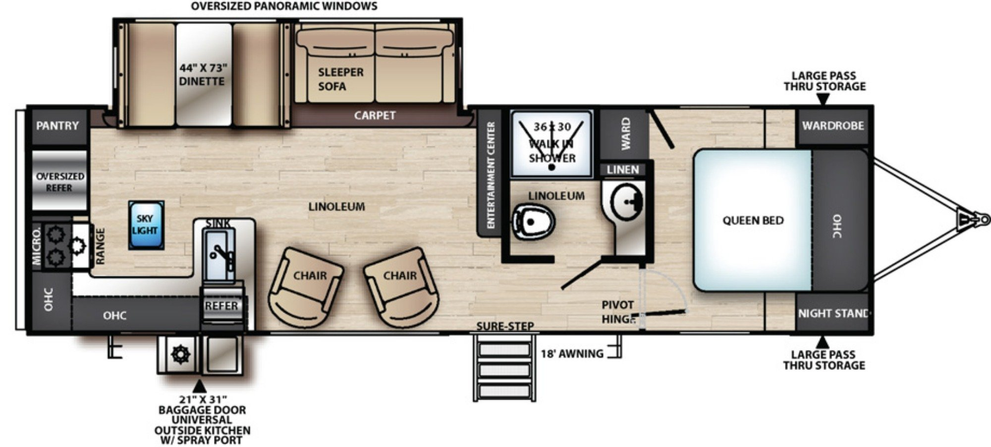 View Floor Plan for 2019 FOREST RIVER VIBE 26RK