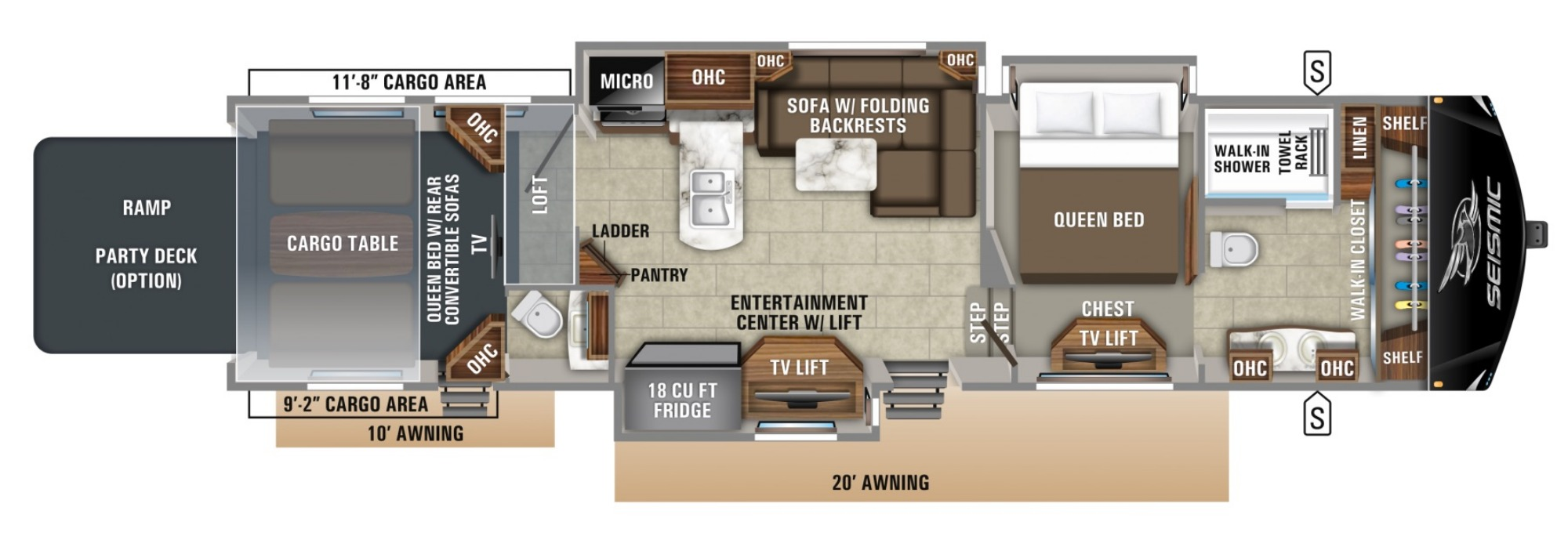 View Floor Plan for 2019 JAYCO SEISMIC 4250