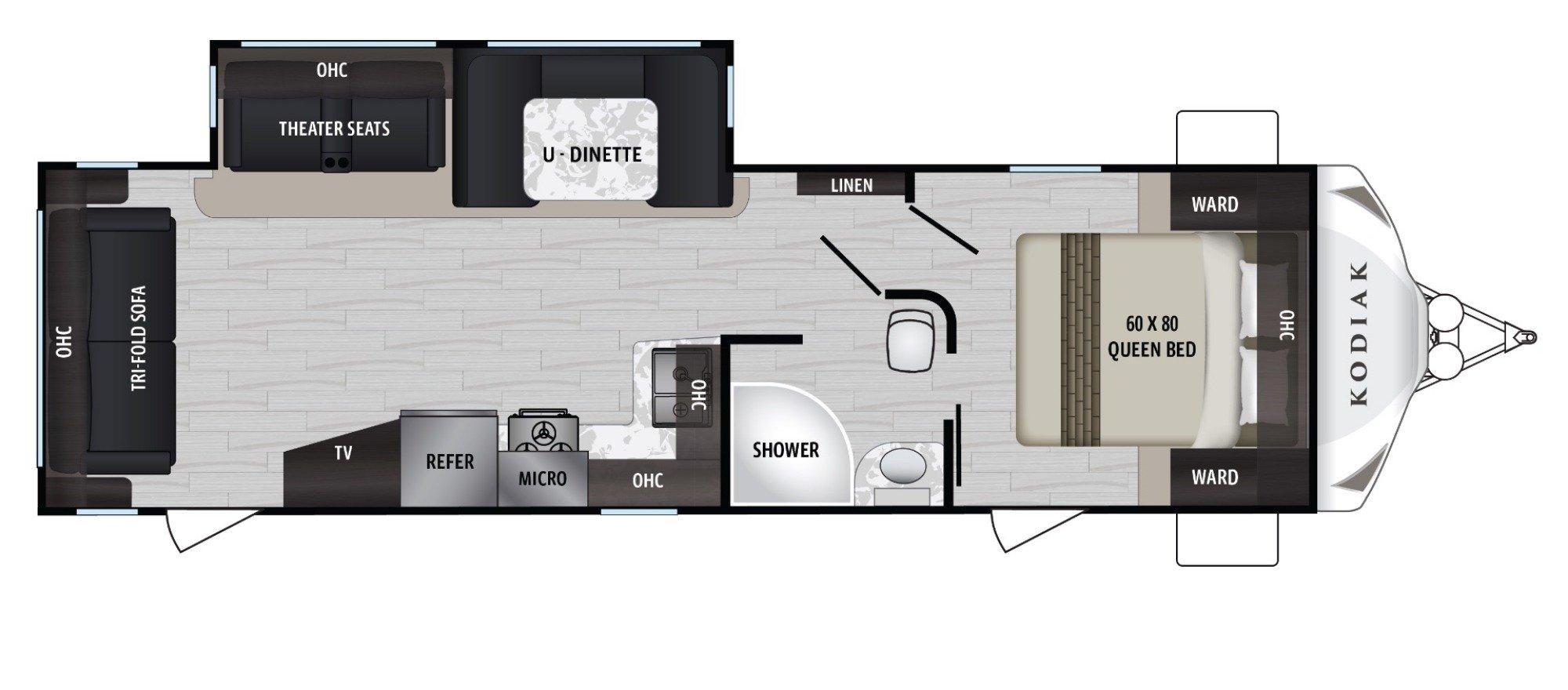 View Floor Plan for 2019 DUTCHMEN KODIAK 293RLSL