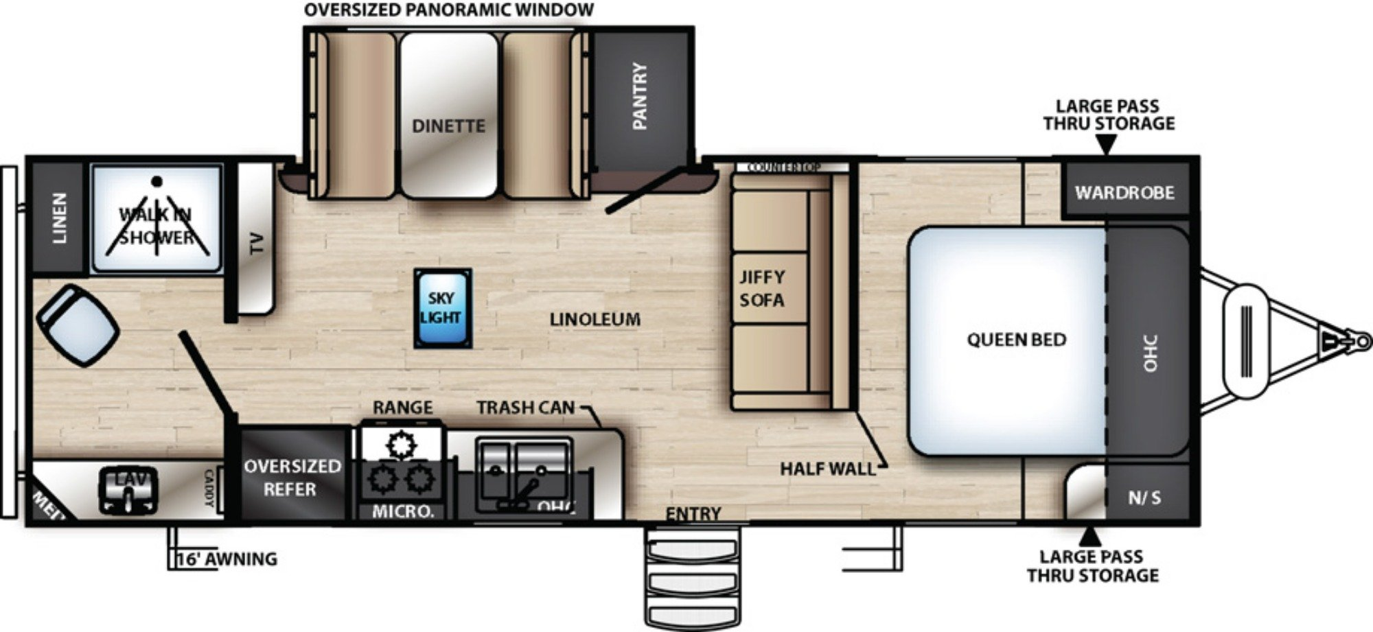 View Floor Plan for 2019 FOREST RIVER VIBE 22RB