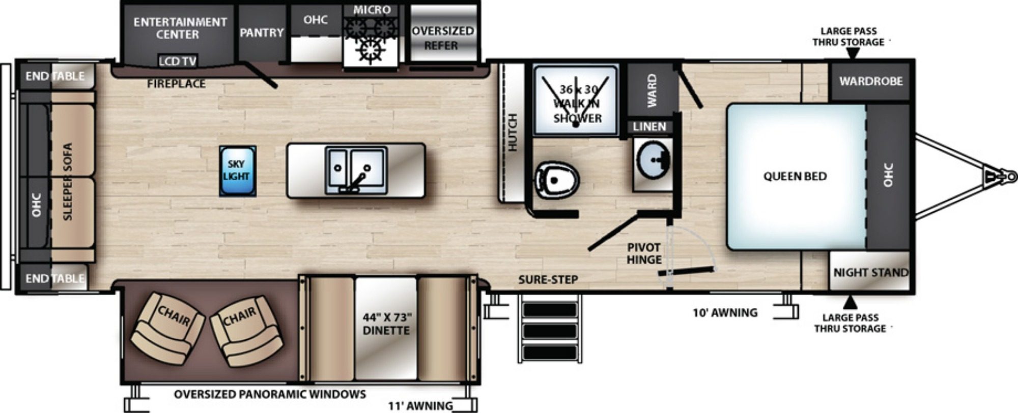 View Floor Plan for 2019 FOREST RIVER VIBE 28RL