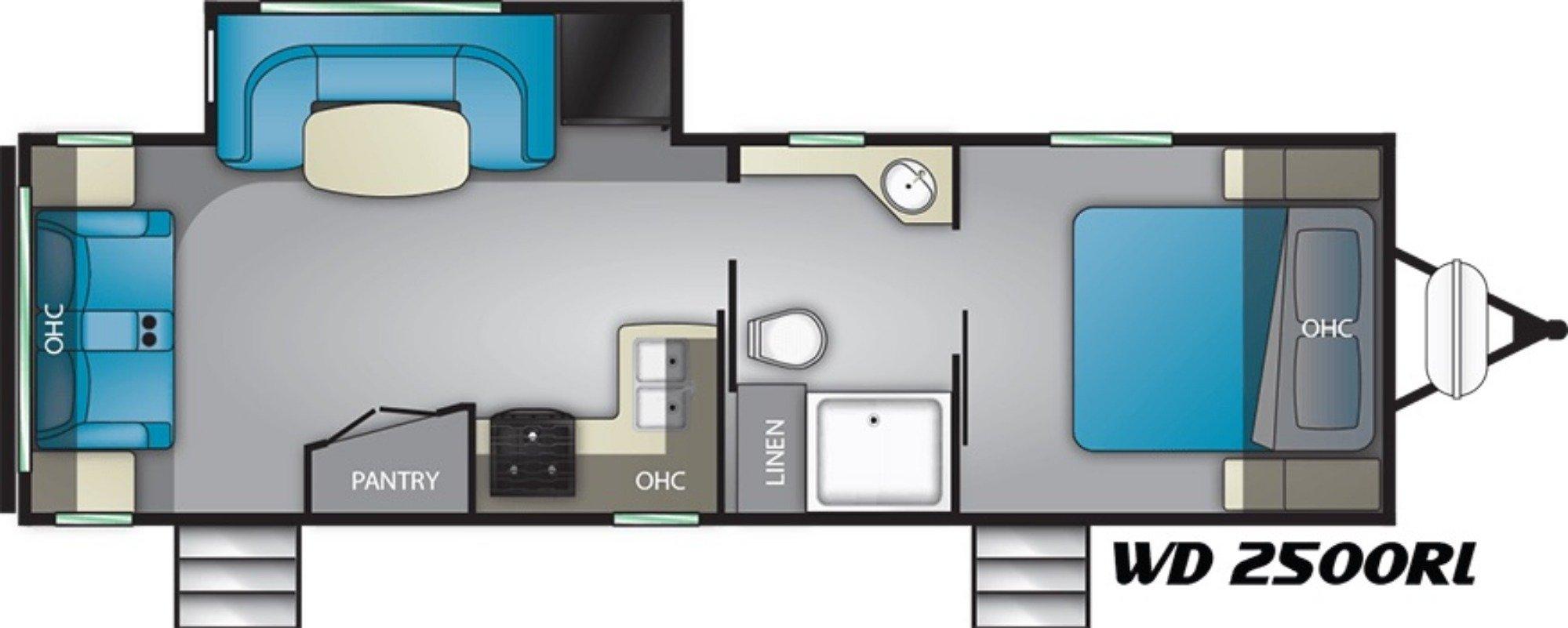 View Floor Plan for 2019 HEARTLAND WILDERNESS 2500RL