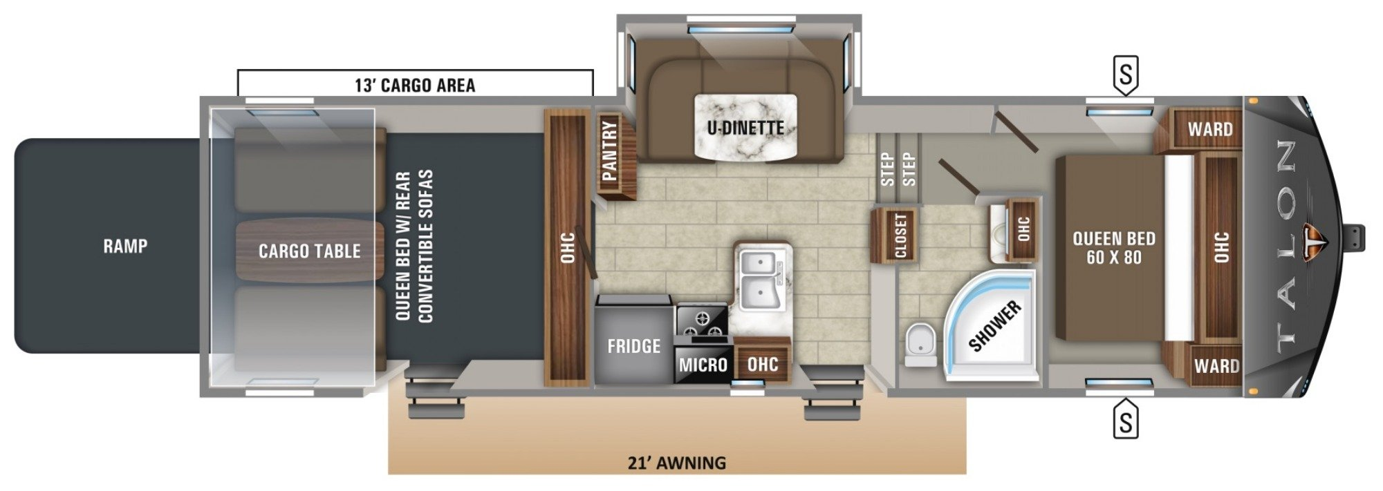 View Floor Plan for 2019 JAYCO TALON 313T