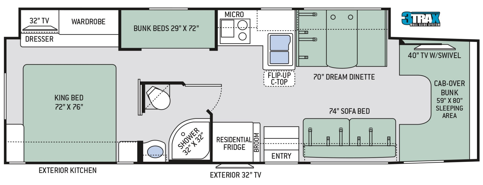 View Floor Plan for 2019 THOR OMNI BB35