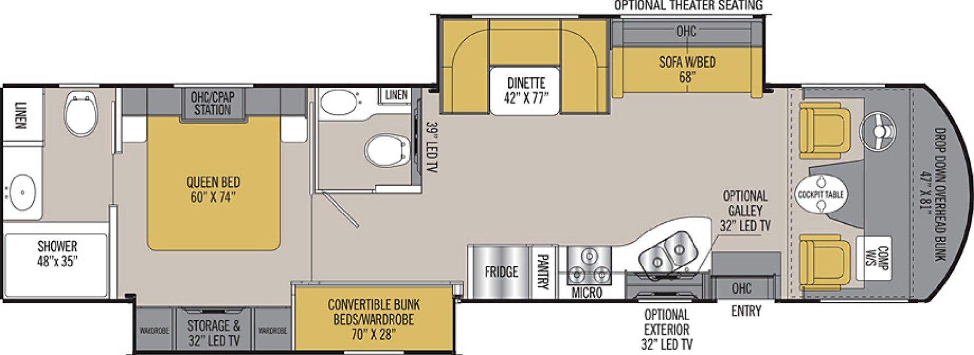 View Floor Plan for 2019 COACHMEN MIRADA 35BH