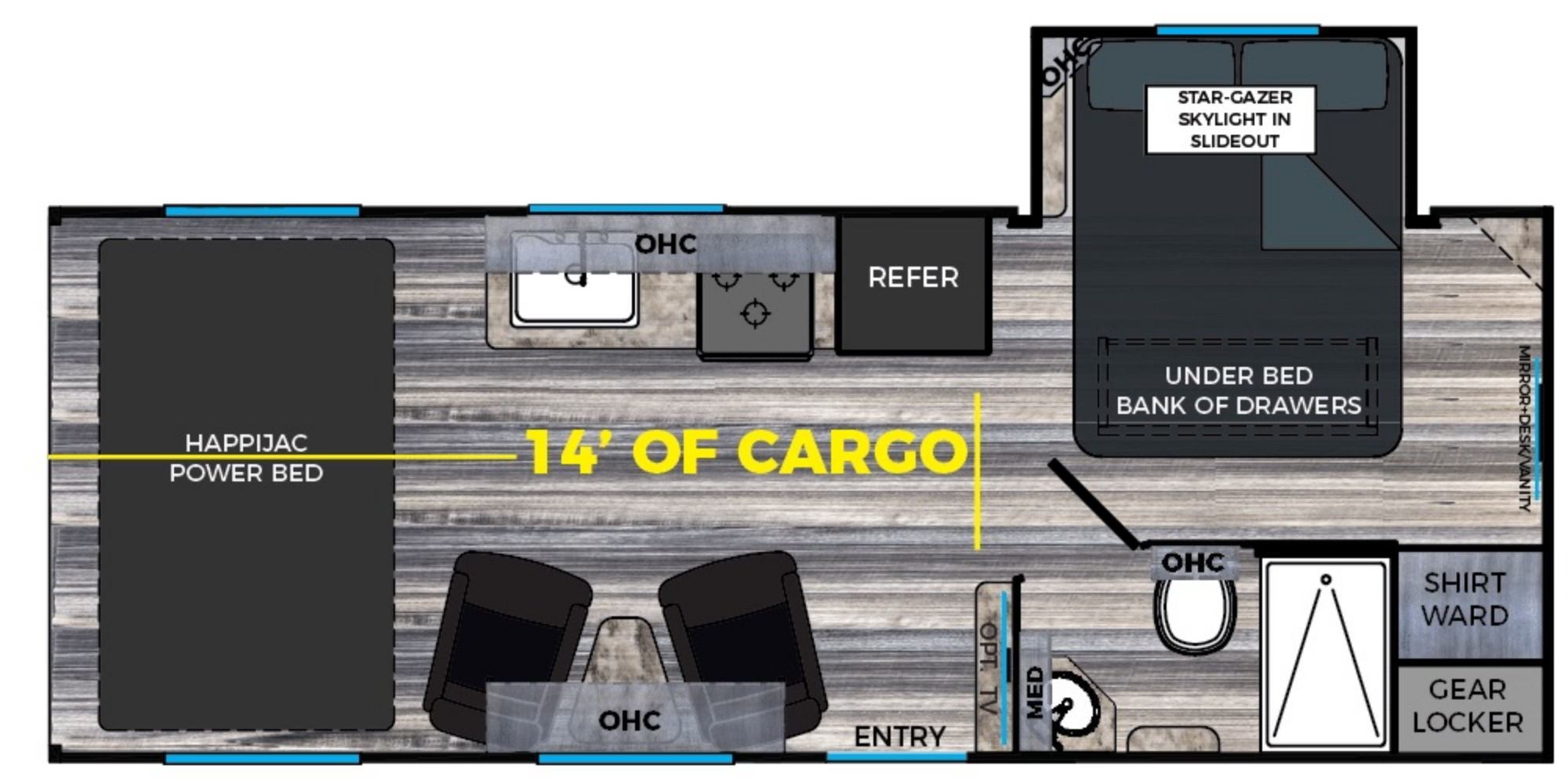 View Floor Plan for 2019 OMEGA RV WEEKEND WARRIOR SS1900