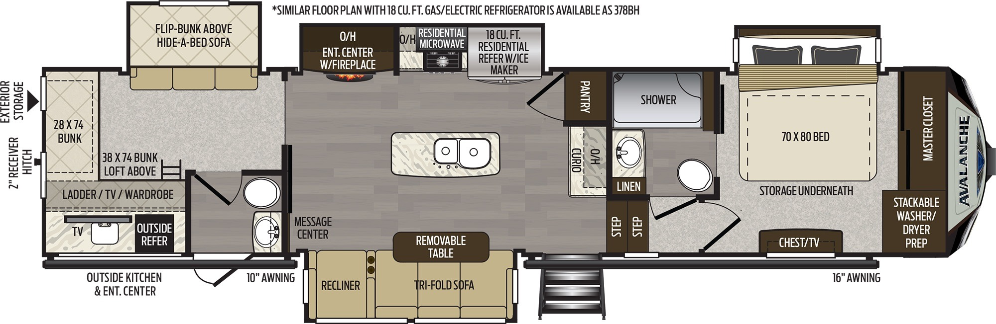 View Floor Plan for 2019 KEYSTONE AVALANCHE 379BH