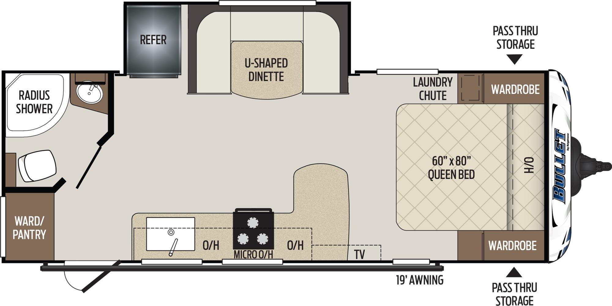 View Floor Plan for 2019 KEYSTONE BULLET 221RBS
