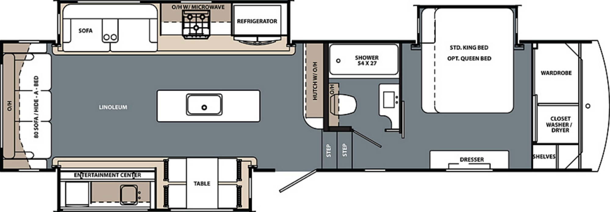 View Floor Plan for 2019 FOREST RIVER CARDINAL LIMITED 3200RLLE