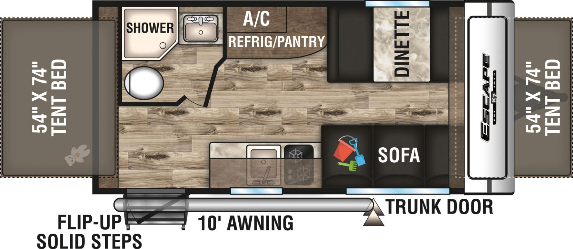 View Floor Plan for 2019 K-Z RV ESCAPE 160RBT