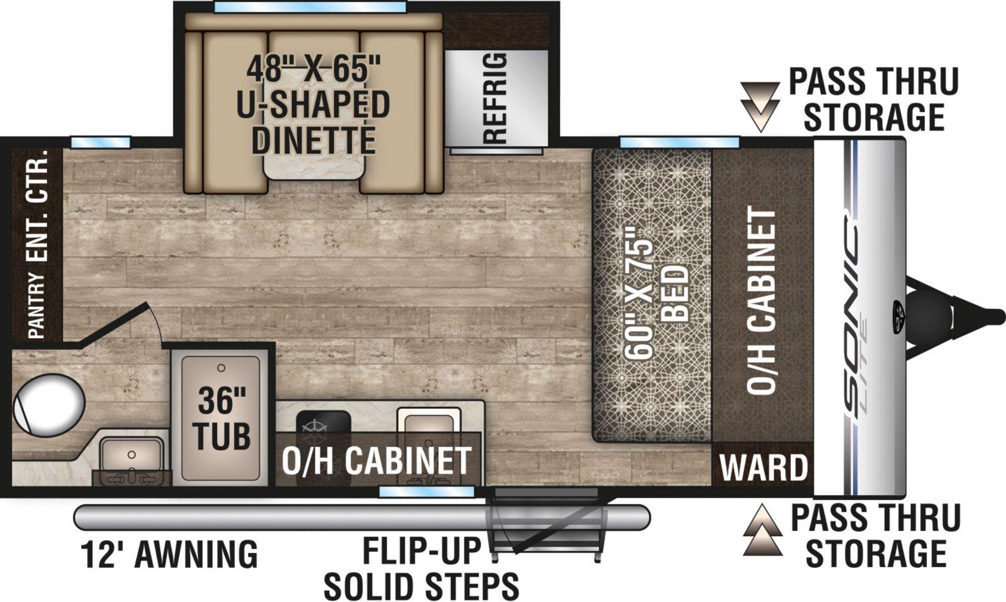 View Floor Plan for 2019 VENTURE RV SONIC LITE 169VMK