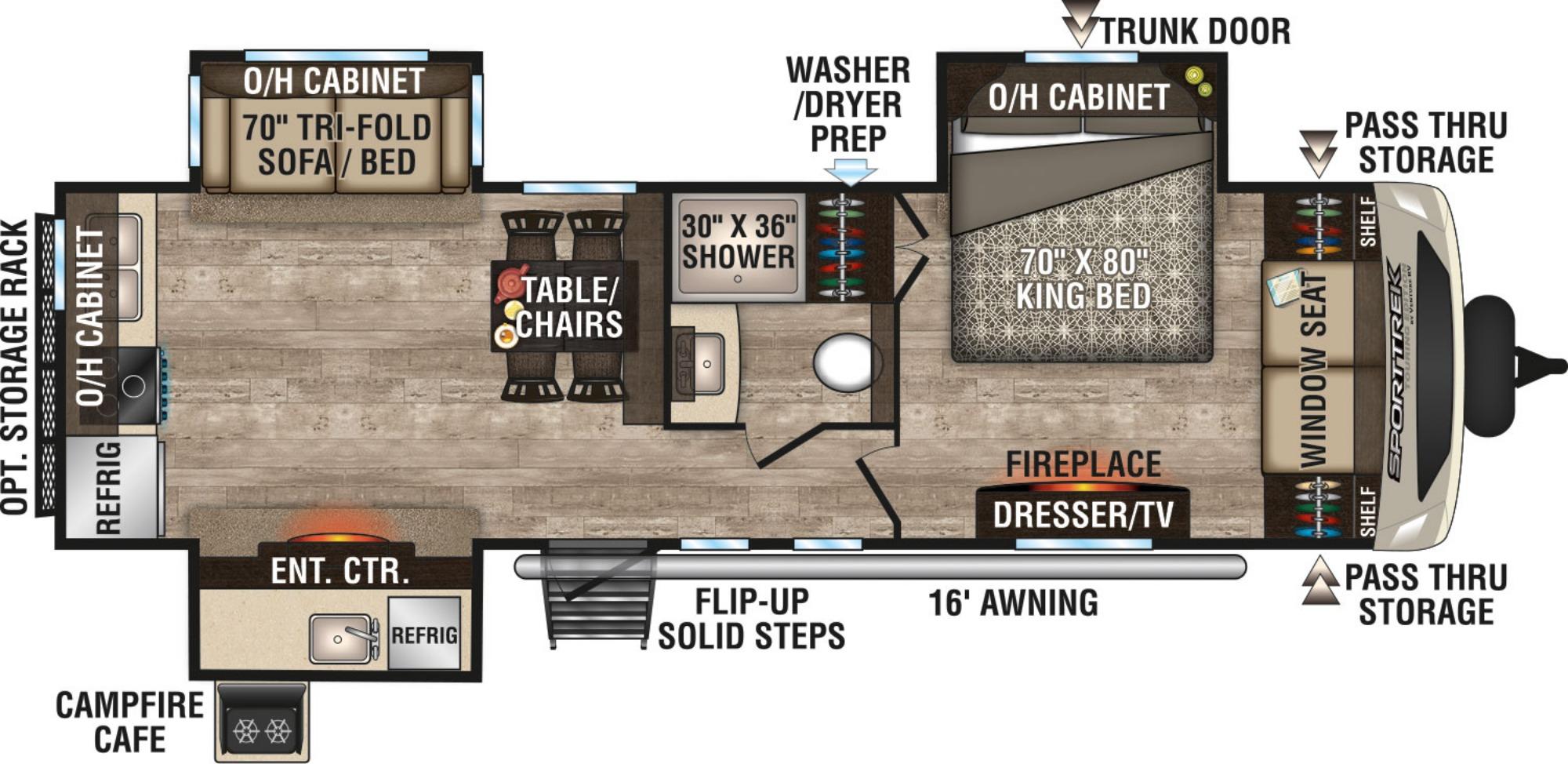 View Floor Plan for 2019 VENTURE RV SPORTTREK TOURING EDITION 293VRK