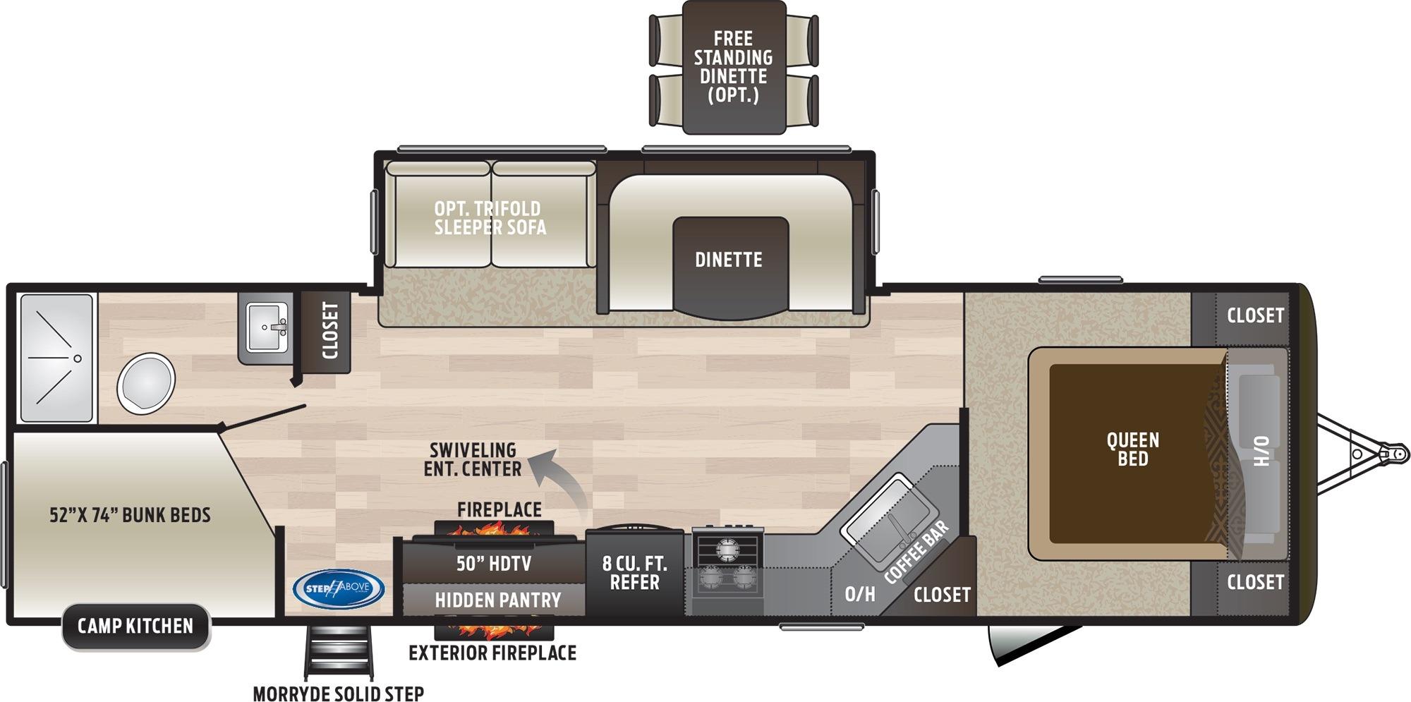 View Floor Plan for 2019 KEYSTONE HIDEOUT 29DFS