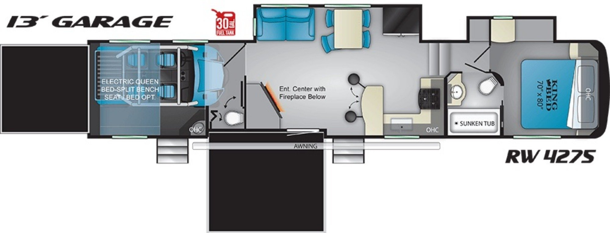 View Floor Plan for 2019 HEARTLAND ROAD WARRIOR 4275