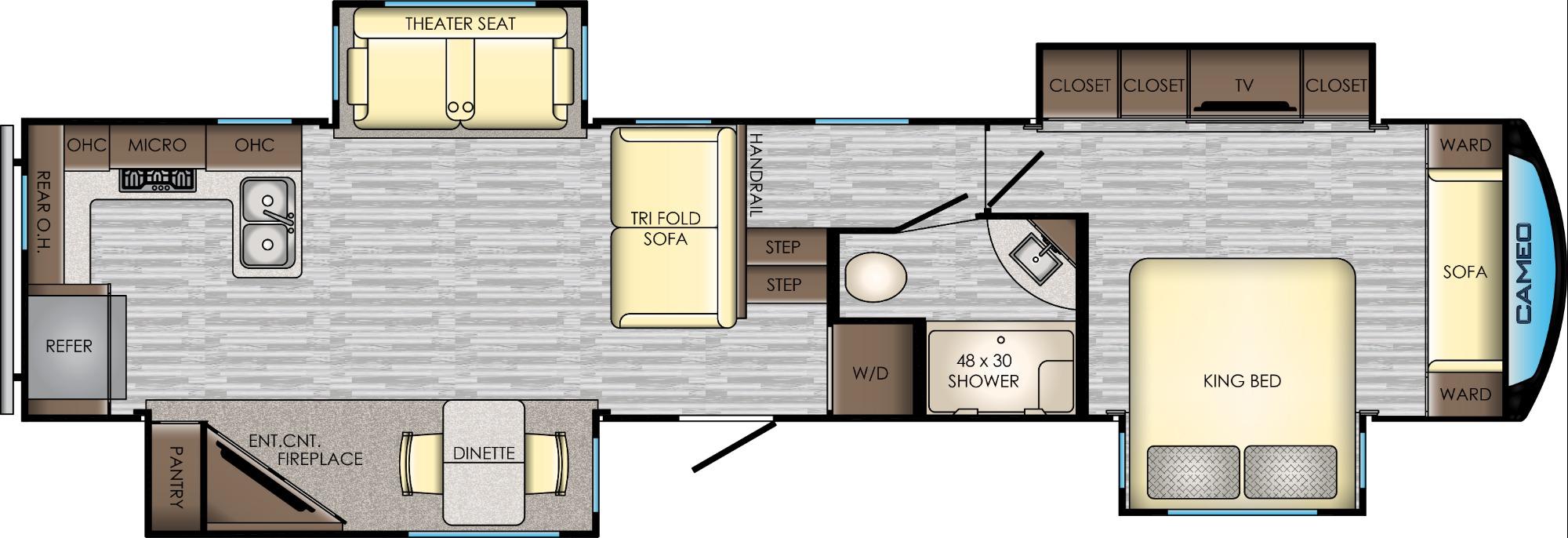 View Floor Plan for 2019 CROSSROADS CAMEO 3801RK