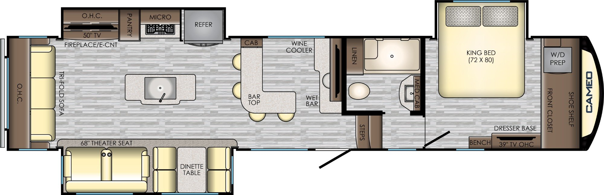 View Floor Plan for 2019 CROSSROADS CAMEO 3921BR